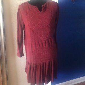 Burgundy long sleeved dress